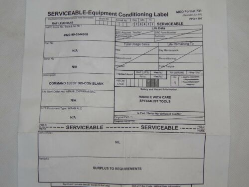 1R10E Ex RAF Aircraft Martin Baker Ejection Seat Blank