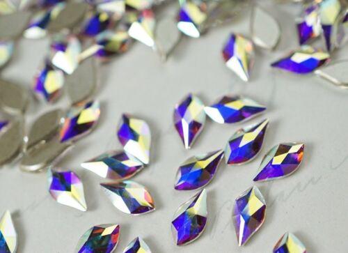Swarovski Crystals Flame Shape CRYSTAL AB flat back non hotfix for nail art NEW