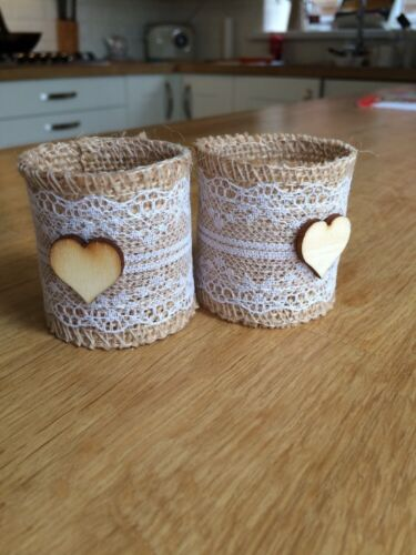 10 Rustic Wedding Hessian And Lace Napkin Rings//Holders With Wooden Heart Front