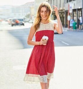 aniston kleid sommerkleid mit spitze häkelspitze rot weiß