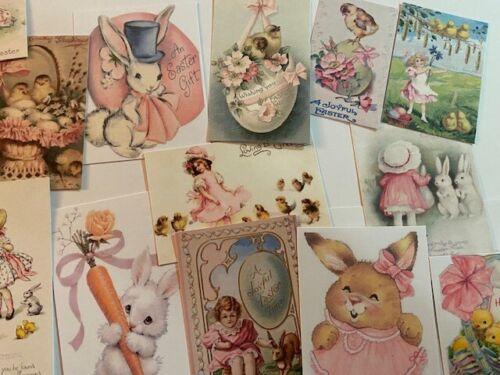 Vintage stylepink Tone Pâques cartes ~ die cuts//étiquettes-cadeaux 44 ~ Fabrication Carte ~ Cuties