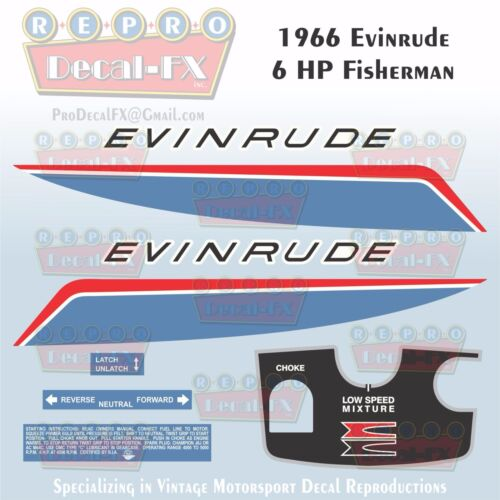 1966 Evinrude 6 HP Fisherman Outboard Reproduction 8 Pc Vinyl Decal 6602-6603