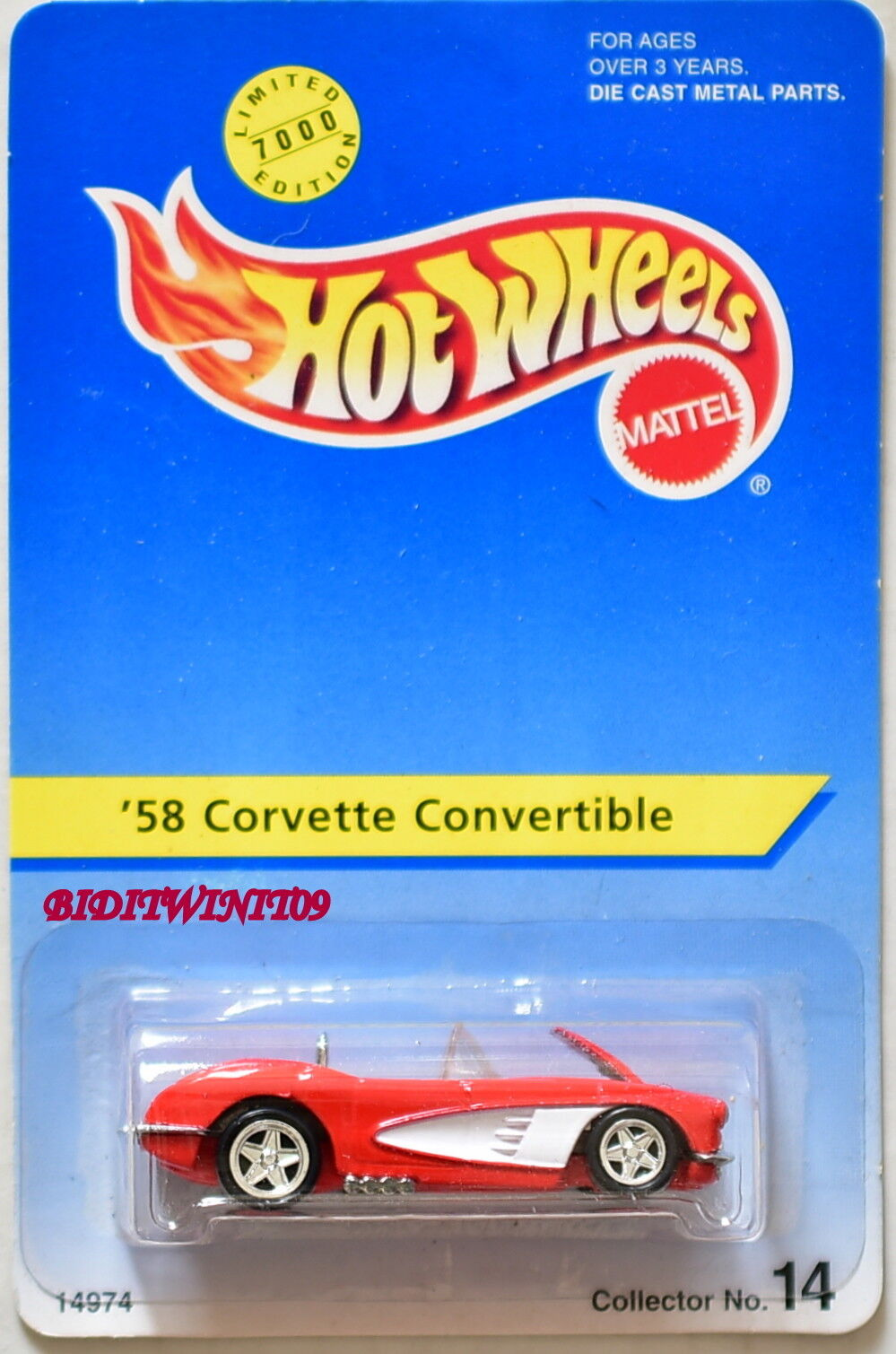 HOT WHEELS 1996 1996 1996 '58 CORVETTE CONgreenIBLE ONLY 7000 MADE c4c44a