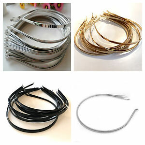 6mm 12 PCS Metal Headbands with Bent End Available in Silver or Black Color 4mm