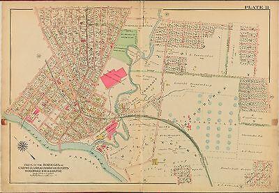 ATLAS MAP 1913 LITTLE FERRY HASBROUCK HEIGHTS HACKENSACK BERGEN COUNTY N.J