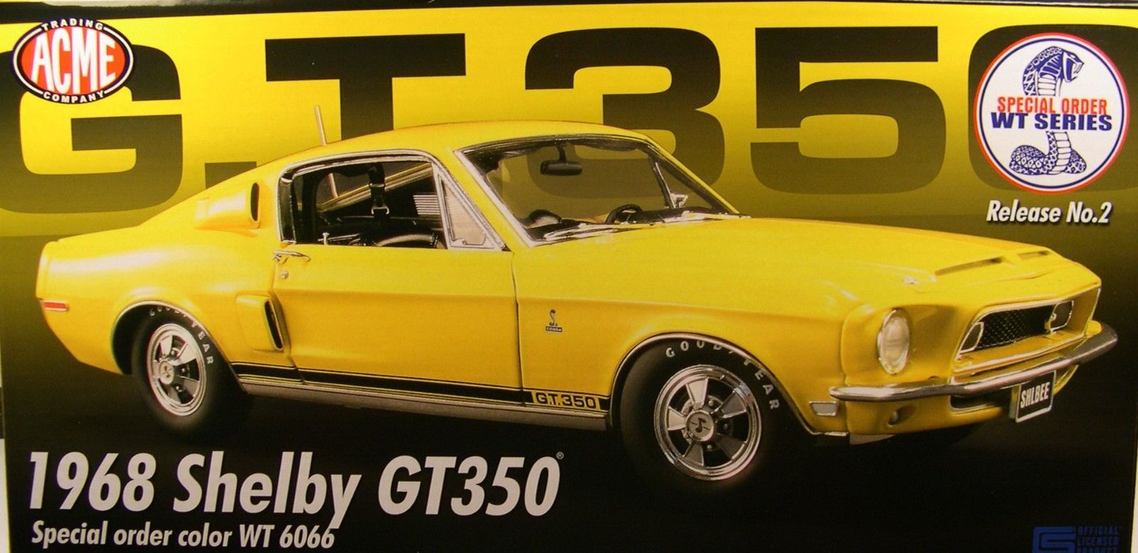 Giallo 1968 FORD SHELBY GT350 MUSTANG ACME 1:18 SCALE DIECAST METAL MODEL CAR