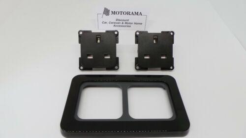 MOTORHOME CARAVAN BOAT CBE//CLINE 2X 240 VOLT 3 PIN SOCKET IN BLACK SURROUND