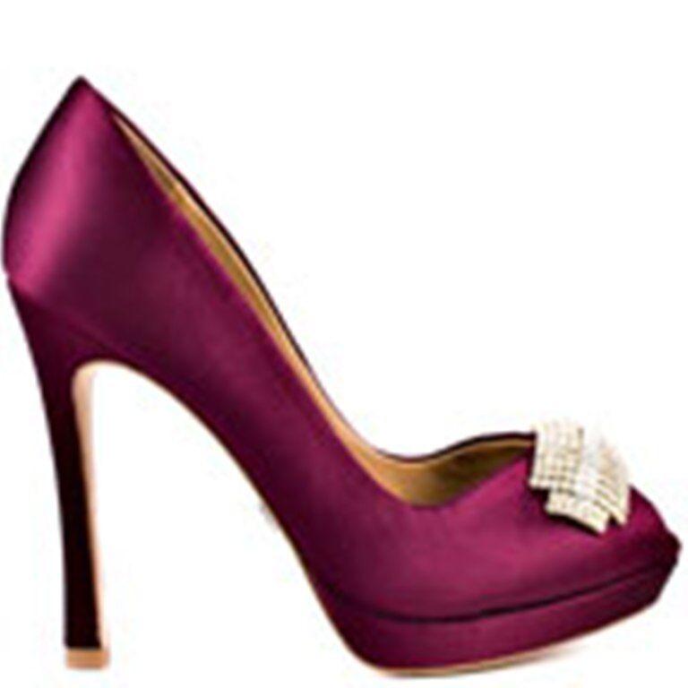 NIB Badgley Badgley Badgley Mischka JULIA  bridal wedding pump heels open toe WINE shoes 7,5 c76d16