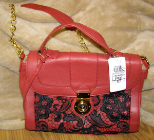 Red-Purse-Designer-Handbag-Frosted-Leather-Lace-Satchel-New-Locking-Classy-Chic