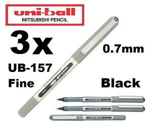 3 black eye fine ub 157 gel ink pen uni ball rollerball. Black Bedroom Furniture Sets. Home Design Ideas
