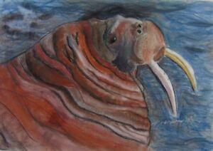 Rudolf-Rothe-034-Walross-034-Pastell-datiert-1994
