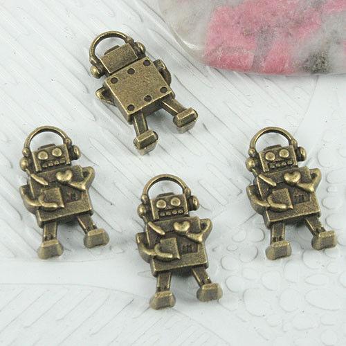 10pcs antiqued bronze color little cute robot design charms EF0839