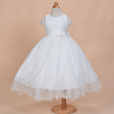 Girls Ivory Lace Bridesmaid Flower Girl Dress Party Dress 2 3 4 5 6 7 8 9 Years