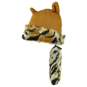 628242df5db05 Fox Tail Crockett Hat Detachable Plain Animal Faux Fur Knit Beanie ...