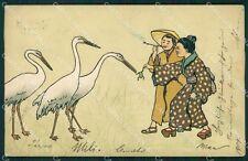 Art Nouveau Lady Geisha Frog MM Vienne 193 postcard cartolina QT7087