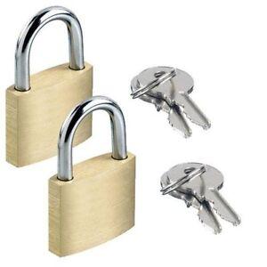 2 x Brass Padlock Security Locker Lock 2 Keys 20mm,25mm Heavy Duty Luggage Lock