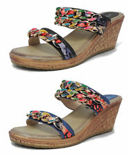LADIES MILLIE L402 CASUAL SMALL WEDGE HEEL FABRIC FLOWER SUMMER BEACH SANDALS