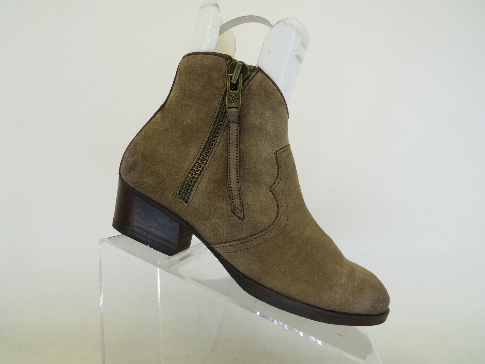 Bussola Brown Distressed Suede Leather Zip Heeled Ankle Boots Bootie Size 39 EUR