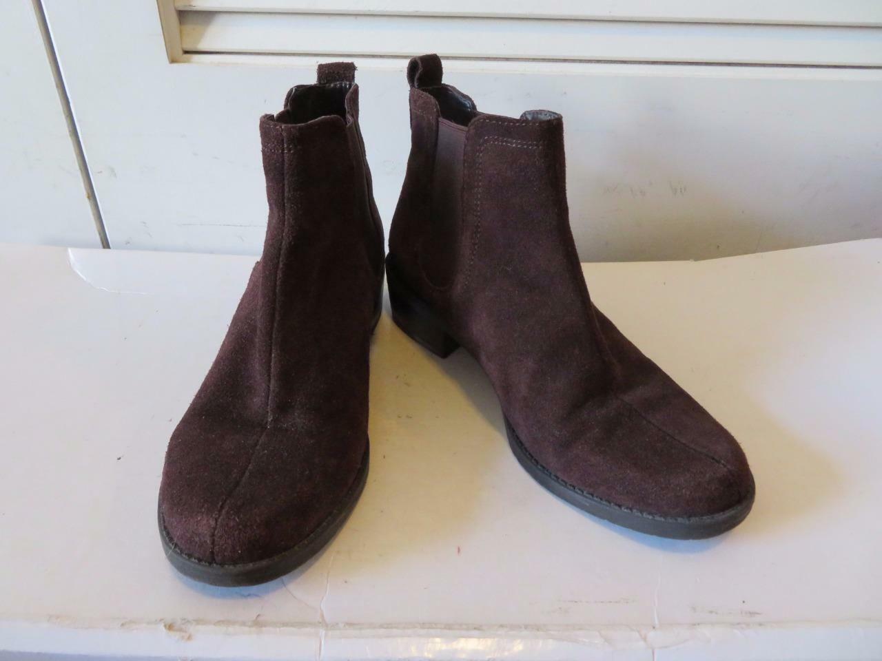 WOMENS ANNE KLEIN BROWN SUEDE ELASTIC PULL-ON ANKLE BOOTS SIZE 7.5