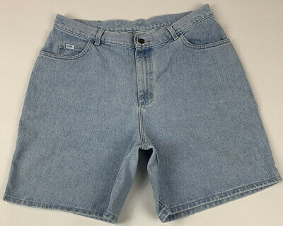 Vintage Denim Shorts Jean Shorts Womens Large 31 1990s Lee Jeans High Waist Blue Made in USA