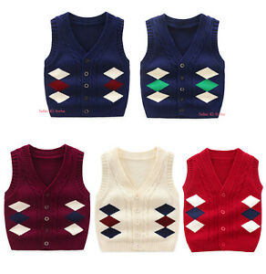 Kids-Baby-Knit-100-Cotton-Knitted-Tank-Top-Sweater-Vests-Cardigans-Waistcoat