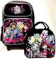 Monster High 16 Rolling Backpack And Monster High Lunchbox With Water Bottle