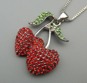 Red-Green-Crystal-Cute-Cherry-Pendant-Betsey-Johnson-Sweater-Necklace