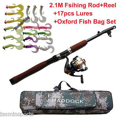 2.1m Fishing Rod Reel Set Telescopic Portable Fishing Rod & Reel & Lures Combo