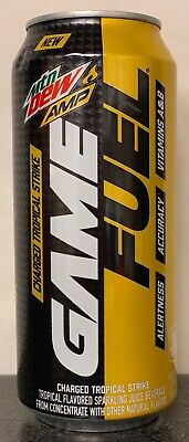 NEW MTN DEW AMP GAME FUEL CHARGED TROPICAL STRIKE ENERGY DRINK 16 FL OZ FULLCAN
