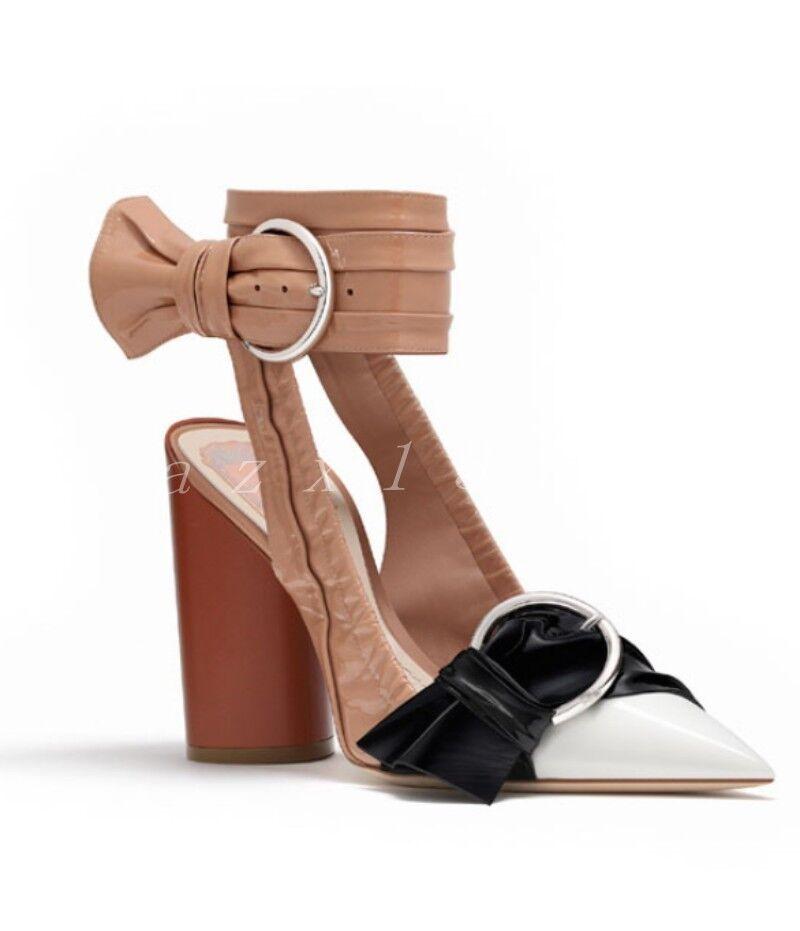 New femmes Leather Pointed Toe Block Heel OL Street Punk Bow Slingnoir chaussures SZ