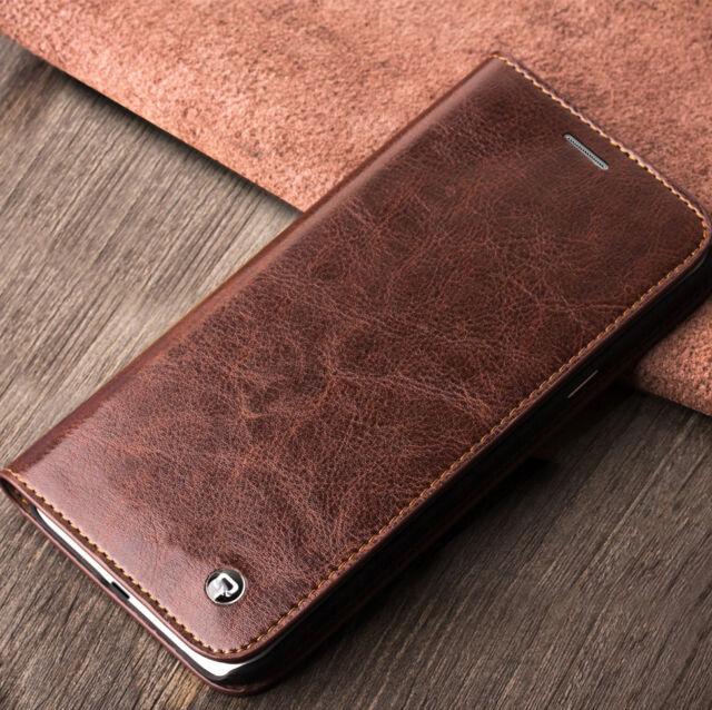 Für Samsung Galaxy S6 EDGE Echtleder Handy Tasche Braun Schwarz Case Cover Leder
