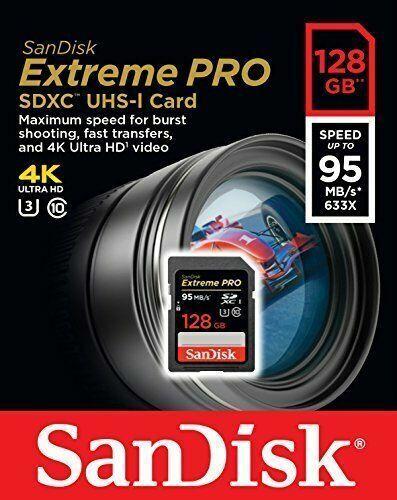 SanDisk 128GB Extreme PRO SDXC UHS-I C10,U3,V30,4K UHD,SD Card-SDSDXXY-128G NEW