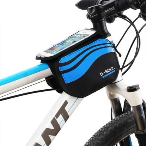 """Waterproof Cycling Bag Bicycle MTB Frame Pannier Tube Bag for 5.7/"""" Cell Phone"""