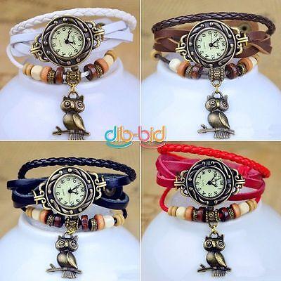 Women Men New Design Retro Leather Bracelet Owl Decoration Quartz Wrist Watch
