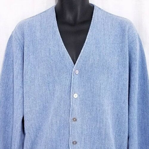 Baracuta Van Heusen Cardigan Sweater Vintage 70s 80s Made In Usa Blue Size Large by Baracuta