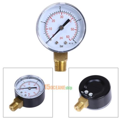 "1pc Pool Spa Filter Water Pressure Gauge 60PSI Side Mount 1//4/"" Inch Pipe Thread"