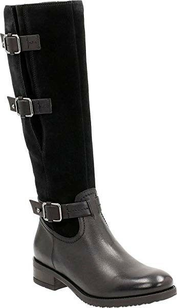 Clarks Ladies Tamro Marina Black Combi Leather Riding Style Long Boots Size 5 38