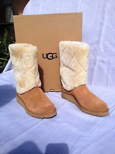 7a6bf1acd2a Details about UGG ARIELLA LUXE DIAMOND SHEEPSKIN WEDGE BOOTS Color:  CHESTNUT Womens US 6