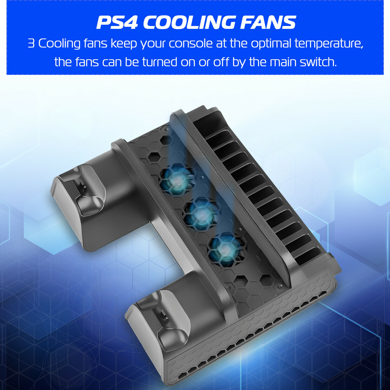 PS4 Cooling Stand Charging Dock & 12 Game Rack for PS4, PS4 Slim, PS4 Pro