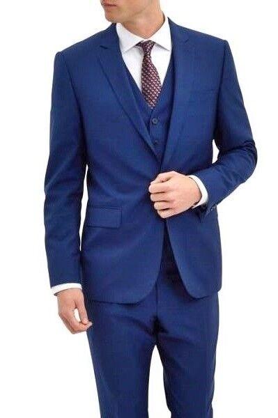 JAEGER bluee 1SB Modern Fit Wool & Mohair Suit UK36 IT46 SMALL BNWT