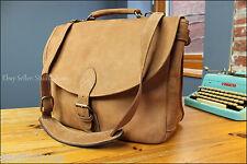 S America Saddle Leather Mail Postal Messenger Shoulder Laptop Briefcase Bag EUC