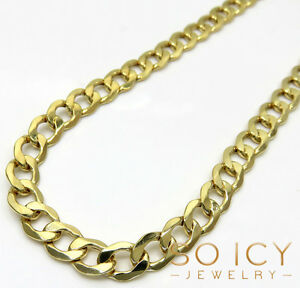 22-30-034-7mm-10k-Yellow-REAL-Gold-Miami-Cuban-Curb-Hip-Hop-Chain-Necklace-Mens
