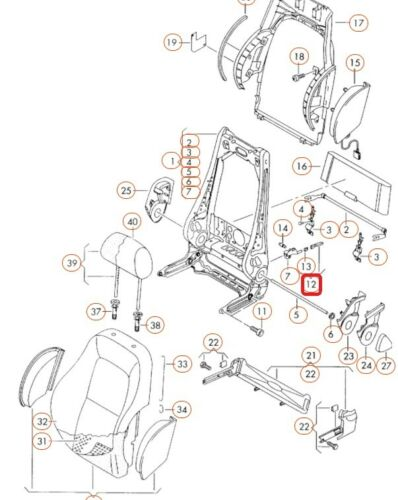 Audi Tt Neuf Véritable Gauche N//S Siège Levier Pour Pli Dossier 8N0881633A01C