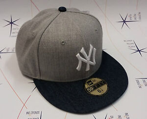 Cappello-New-Era-originale-NY-Yankees-grigio-denim-nfl-59-FIFTY-Hip-Hop