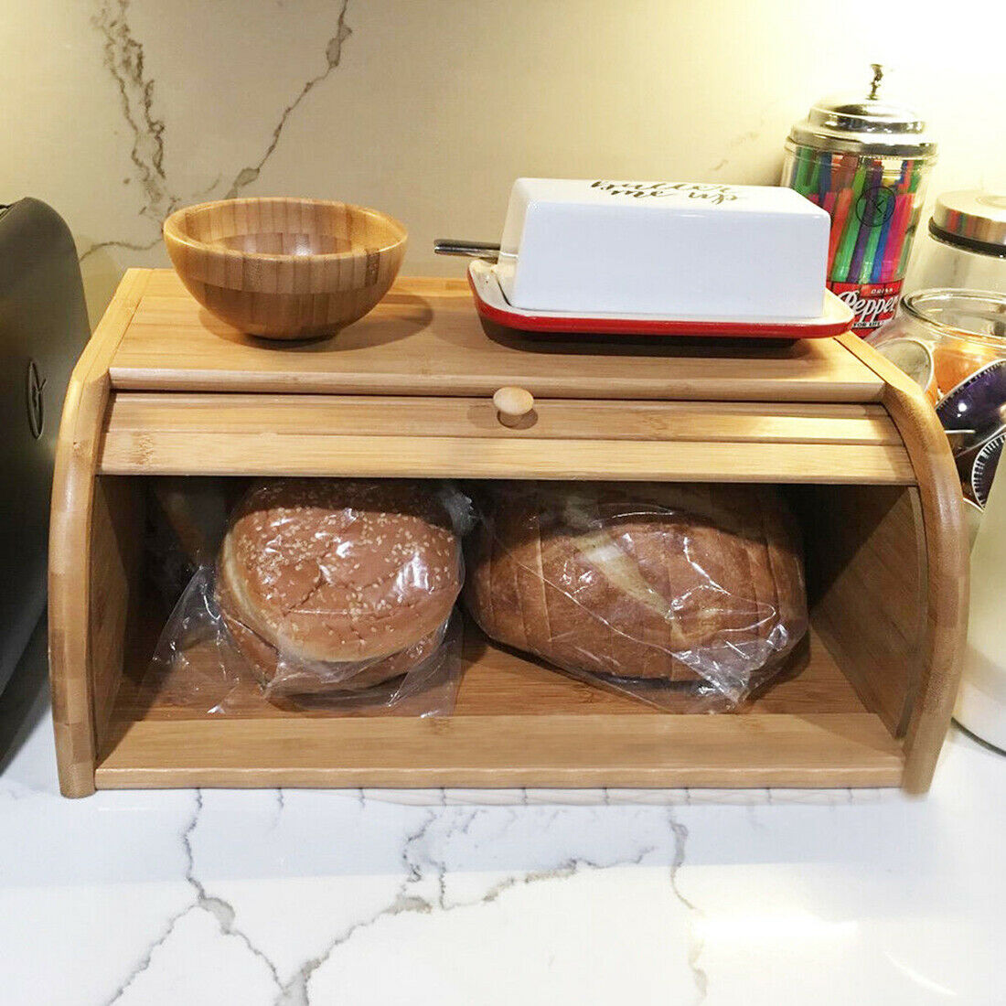 Roll Top Bamboo Wood Bread Box Loaf Container Kitchen Food Storage Bin Large US 3