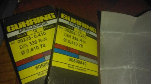 "Pkg of 10 205 Series .41mm  .0161/"" Guhring Micro Precision Cobalt Drill Bit"