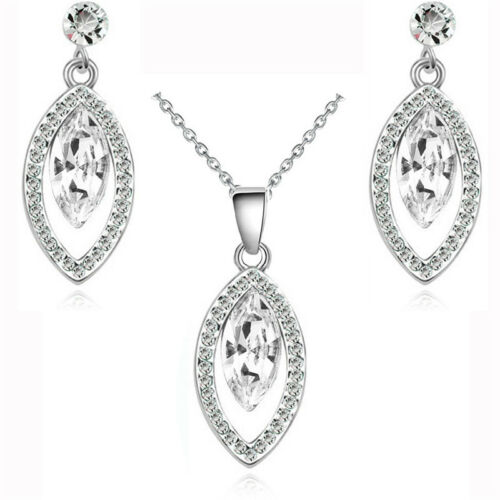 Bridal White Crystal Evening Party Jewellery Set  Stud Earrings /& Necklace S821