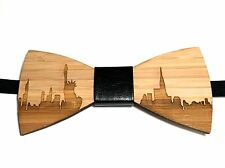 Wooden bow tie. New York wood bow tie. Sky line bowtie wooden bamboo tie.