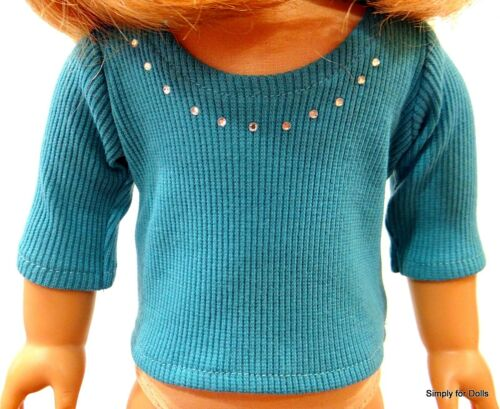 """TEAL Ribbed w//RHINESTONES LS DOLL TOP T-SHIRT fit 18/"""" AMERICAN GIRL DOLL"""