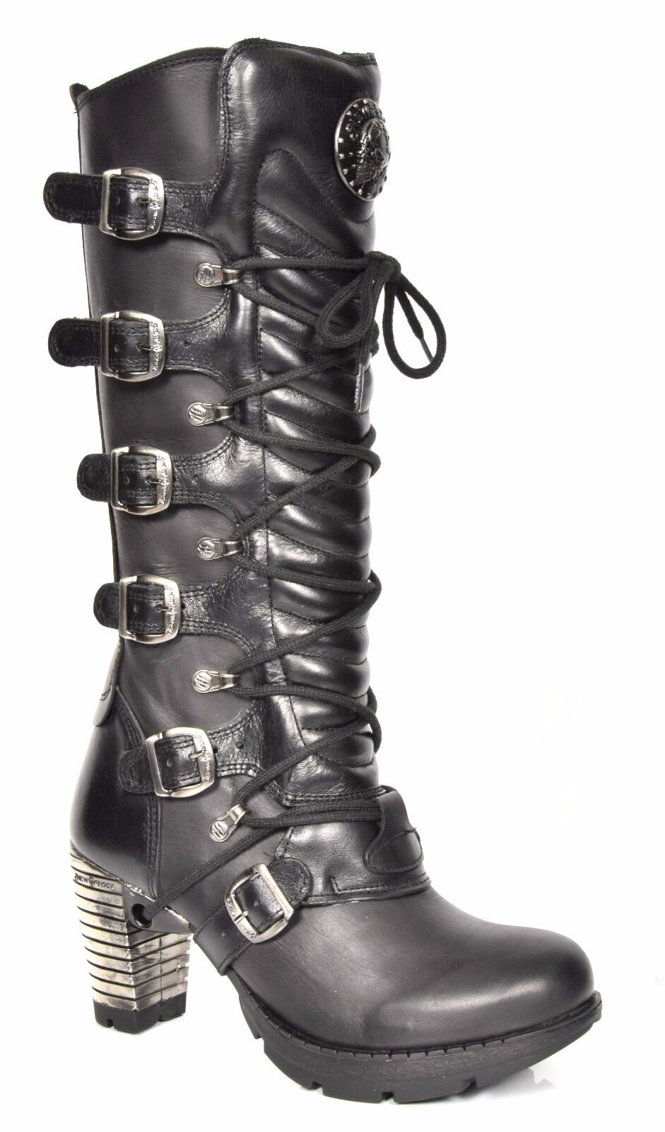 Grandes zapatos con descuento Womens Knee Length Black Leather Boots Designer NEW ROCK Gothic Retro Block Heel